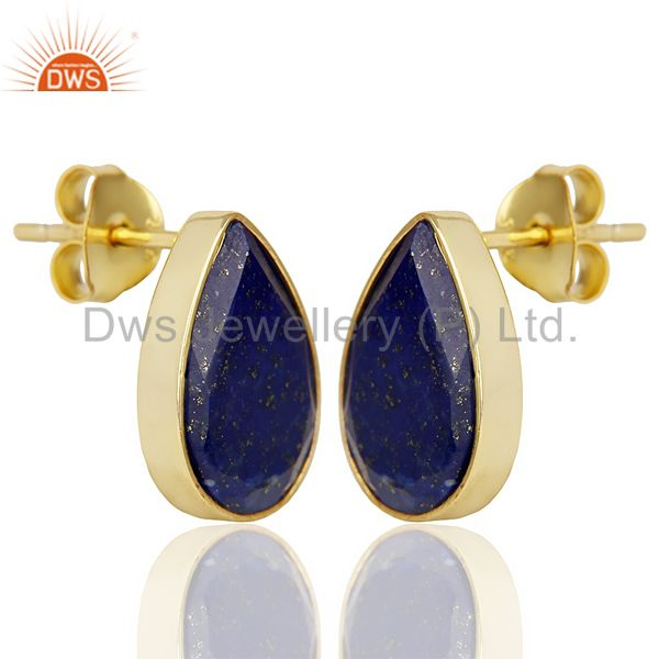 Exporter Natural Lapis Pear Shape Flat Back Gold Plated Stud Earring In Solid Silver