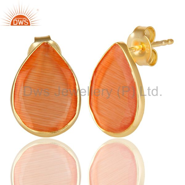 Exporter 14K Gold Plated 925 Sterling Silver Pear Style Peach Moonstone Studs