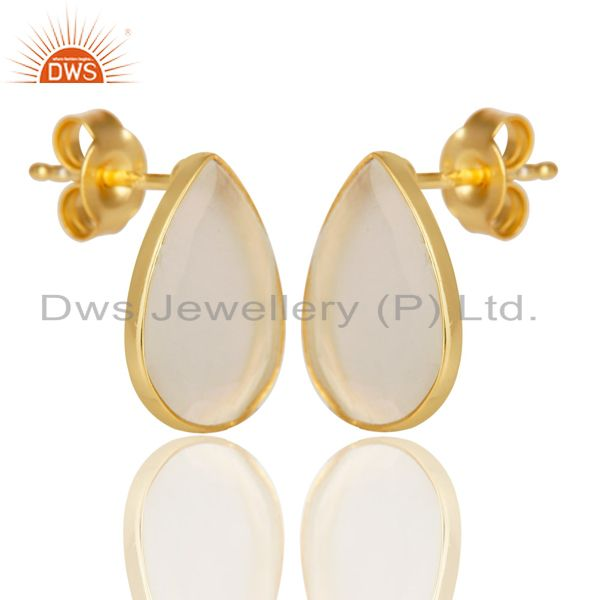 Exporter 14K Gold Plated 925 Sterling Silver Pear Style White Moonstone Studs