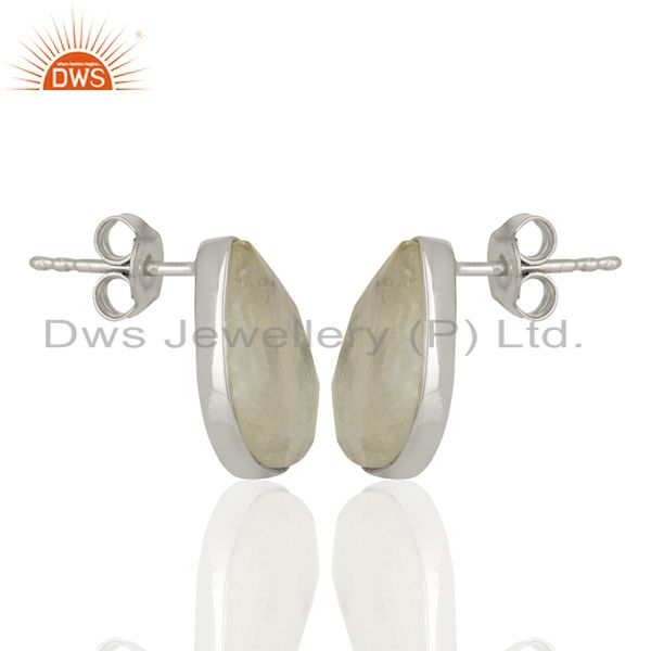 Exporter Rainbow Moonstone Sterling Fine Silver Stud Earrings Manufacturer