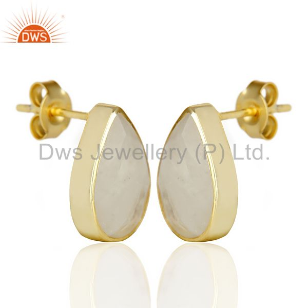 Exporter Natural Rainbow Moon Stone Pear Shape Flat Back Gold Plated Stud Earring