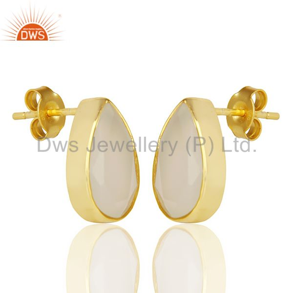 Exporter White Chalcedony Pear Shape Flat Back Stud 14K Gold Plated 92.5 Silver Earring