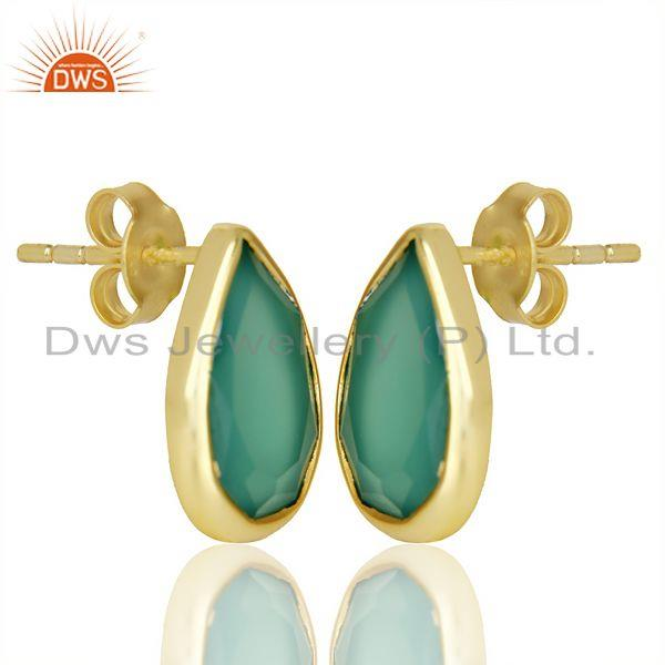 Exporter Green Onyx Pear Shape Flat Back Stud 14K Gold Plated 92.5 Silver Earring