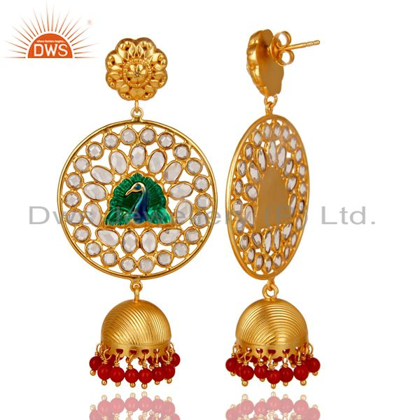 Exporter 18K Gold Plated 925 Sterling Silver Red Coral & White Zircon Jhumka Earrings