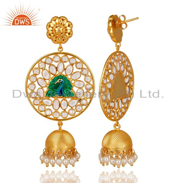 Exporter 18K Gold Plated 925 Sterling Silver Pearl Beads & White Zircon Jhumka Earrings