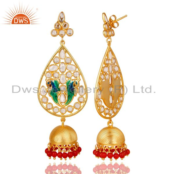 Exporter 18K Gold Plated 925 Sterling Silver White Zircon & Red Coral Jhumka Earrings