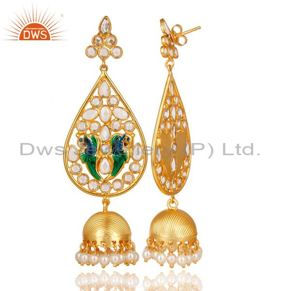 Exporter 14K Gold Plated 925 Sterling Silver White Zircon & Pearl Beads Jhumka Earrings