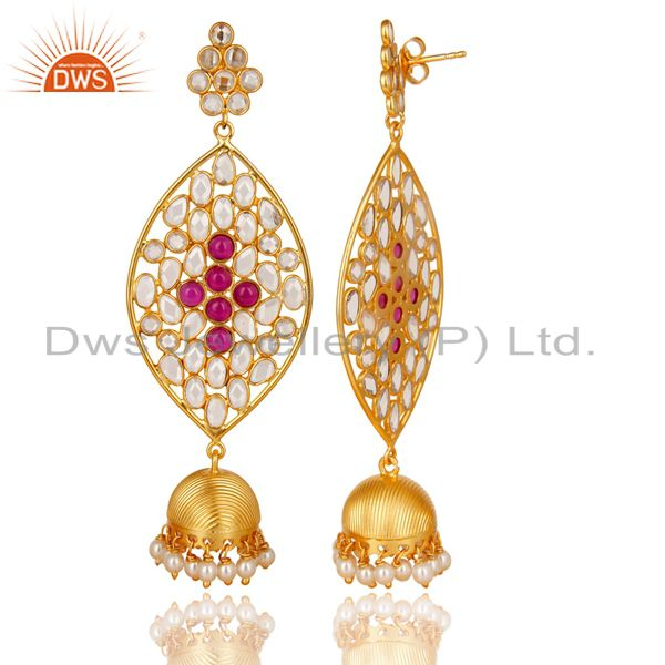 Exporter 14K Gold Plated Sterling Silver White Zircon, Pearl & Red Glass Jhumka Earrings