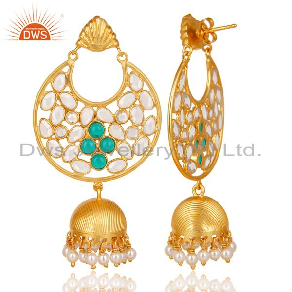 Exporter 18K Gold Plated 925 Sterling Silver White Zircon, Pearl & Glass Jhumka Earrings