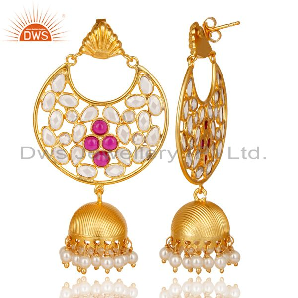 Exporter 18K Gold Plated Sterling Silver White Zircon, Pearl & Red Glass Jhumka Earrings
