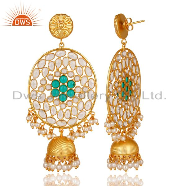 Exporter 18K Gold Plated Sterling Silver Pearl Beads, Green Glass & CZ Jhumka Earrings