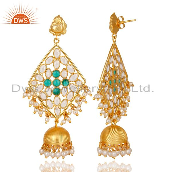 Exporter CZ, Pearl Beads & Green Glass Jhumka Earring Made In 18K Gold Plated 925 Silver