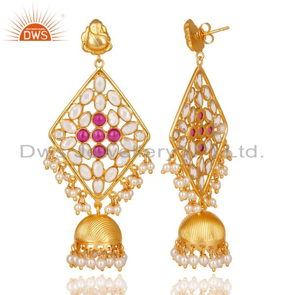 Exporter 18K Gold Plated 925 Sterling Silver Pearl Beads, Red Glass & CZ Jhumka Earrings