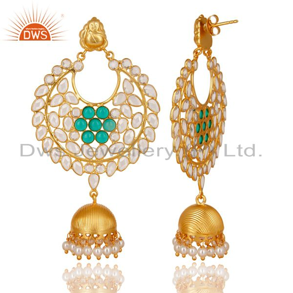 Exporter 18K Gold Plated 925 Sterling Silver Pearl, Green Glass & CZ Jhumka Earrings