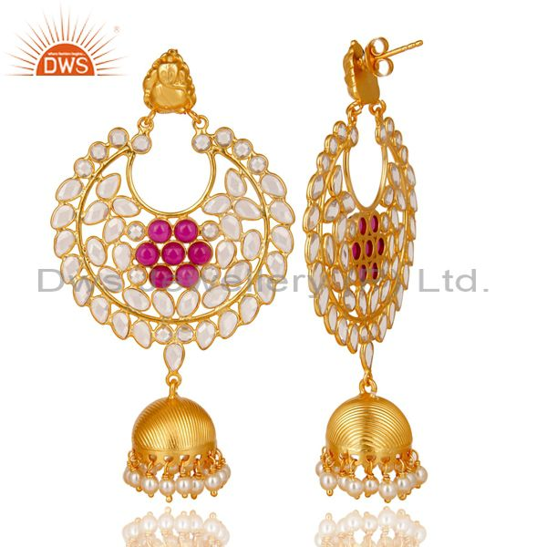 Exporter 18K Gold Plated 925 Sterling Silver Pearl, Red Glass & CZ Jhumka Earrings
