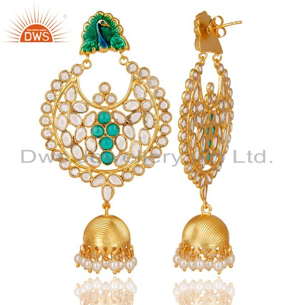 Exporter 14K Gold Plated 925 Sterling Silver Pearl, CZ & Green Glass Jhumka Earrings