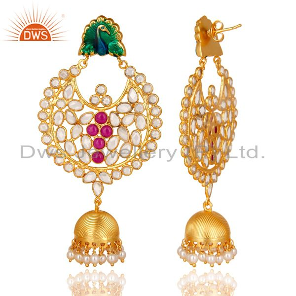 Exporter 18K Gold Plated Sterling Silver Pearl Beads, Red Glass & CZ Jhumka Earrings