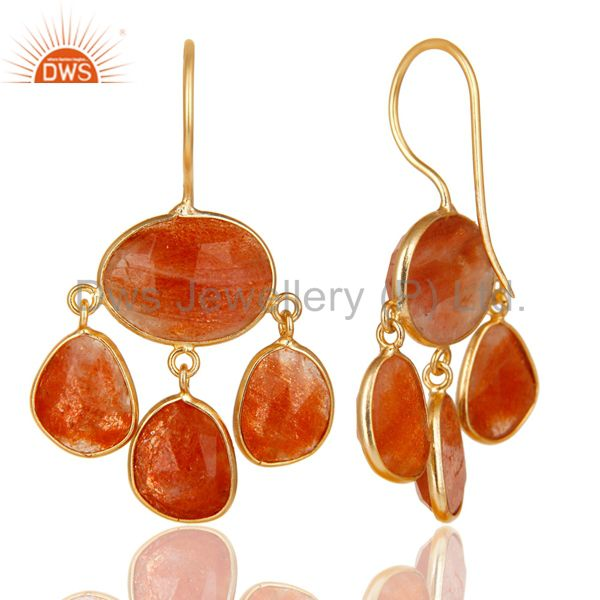 Exporter 14K Yellow Gold Plated 925 Sterling Silver Natural Sun Stone Chandelier Earring