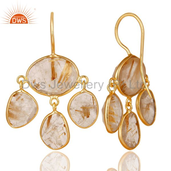 Exporter 14K Yellow Gold Plated 925 Sterling Silver Routile Golden Chandelier Earrings
