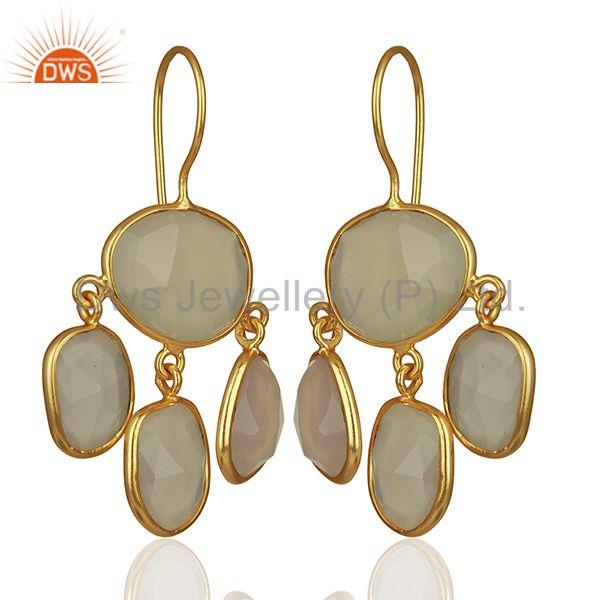 Exporter White Chalcedony Gemstone Gold Plated 925 Silver Drop Earrings