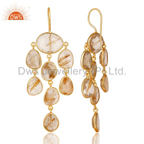 Exporter 14K Gold Plated 925 Sterling Silver Routile Golden Chandelier Earrings Jewelry