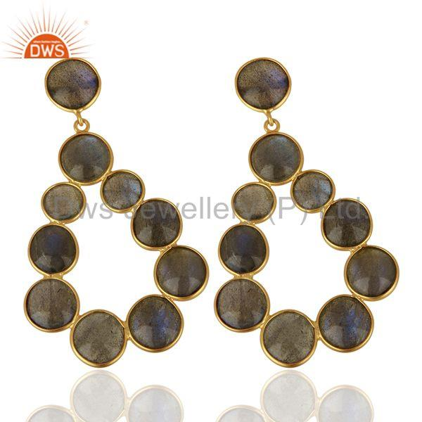 Exporter Labradorite Gemstone Gold Plated Brass Fashion Earrings Jewelry