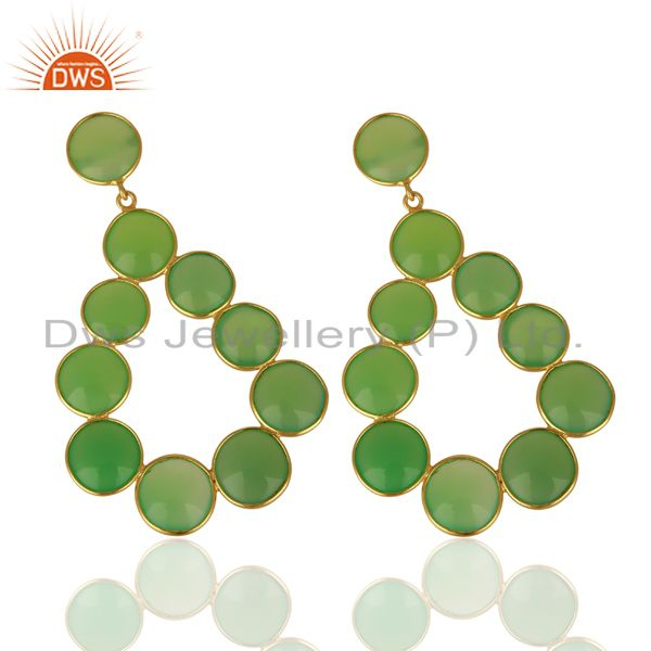 Exporter Green Chalcedony Dangle 18K Yellow Gold Plated 925 Sterling Silver Earrings