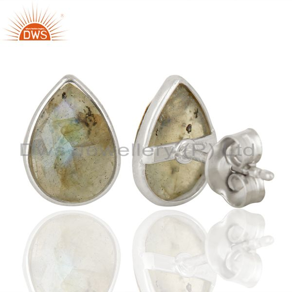 Exporter Labradorite Stud 18K Yellow Gold Plated 925 Sterling Silver Earrings Jewelry