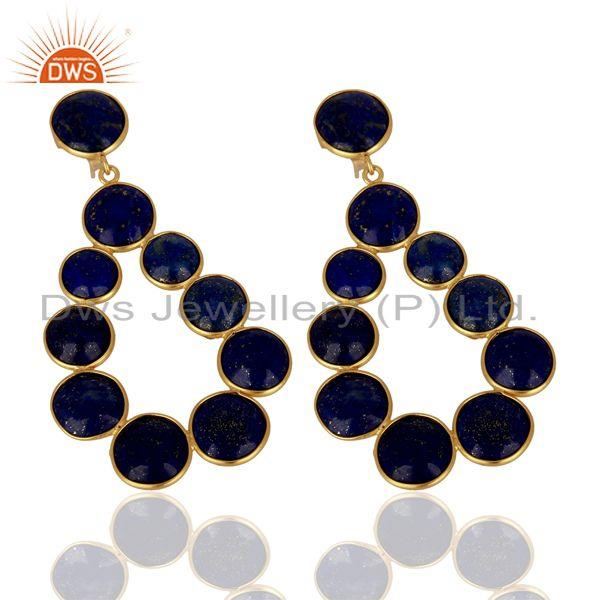 Exporter Lapis Lazuli Dangle 18K Yellow Gold Plated 925 Sterling Silver Earrings