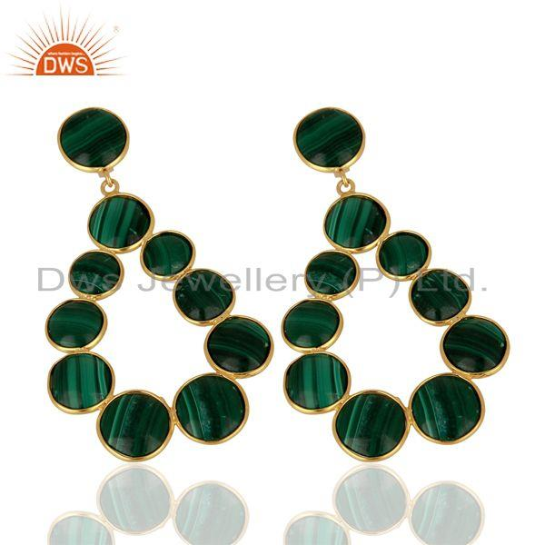 Exporter Malachite Dangle 18K Yellow Gold Plated 925 Sterling Silver Earrings