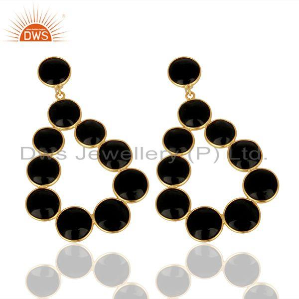 Exporter Black Onyx Dangle 18K Yellow Gold Plated 925 Sterling Silver Earrings