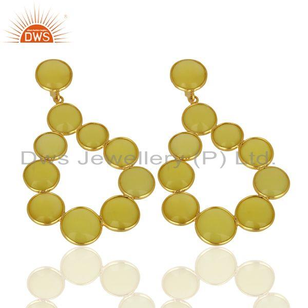 Exporter Yellow Chalcedony Dangle 18K Yellow Gold Plated 925 Sterling Silver Earrings