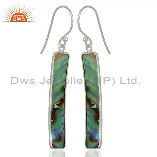 Exporter Abalone Shell Rectangle 92.5 Sterling Silver Dangle Earrings Gemstone Jewellery