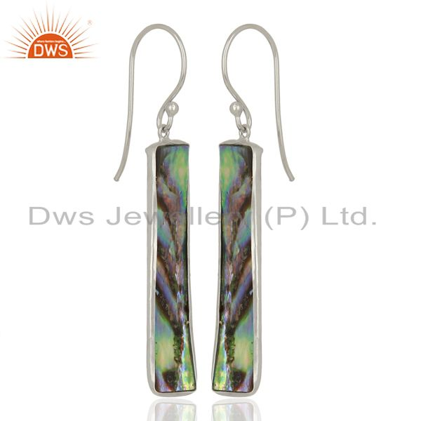 Exporter Abalone Shell Rectangle Sterling Silver White Rhodium Plated Dangle Earrings