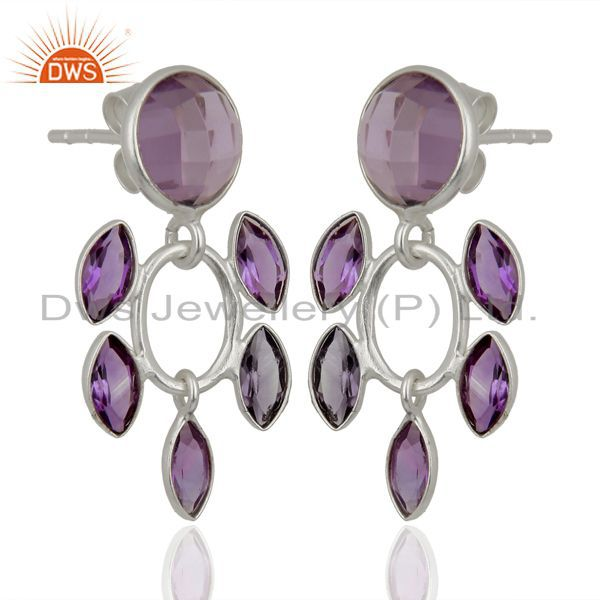 Exporter Natural Amethyst Gemstone Sterling Silver Fashion Earrings Jewelry