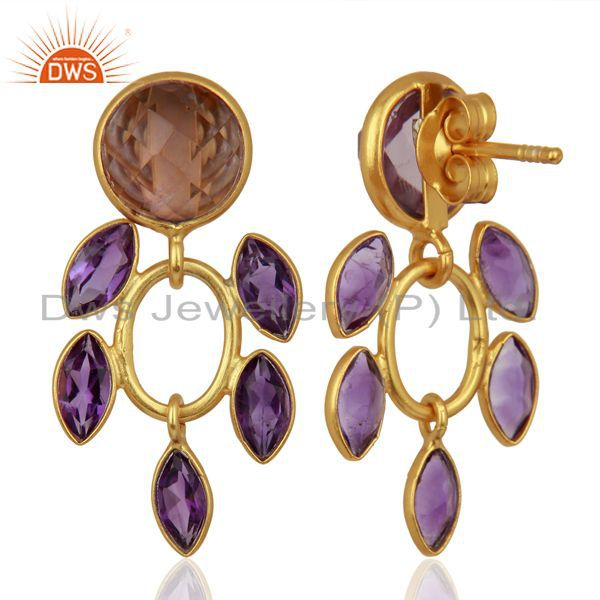Exporter New Designer Natural Amethyst Gemstone Gold Plated Silver Earrings