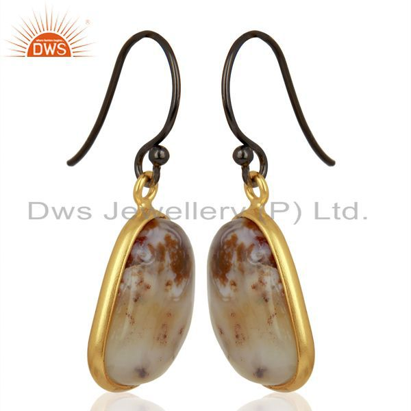 Exporter Yellow Gold Plated 925 Silver Ocean Jasper Gemstone Earrings Jewelry