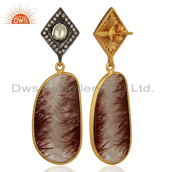 Exporter Gold Plated Rutile Gemstone 925 Silver CZ Earrings Manufacturer