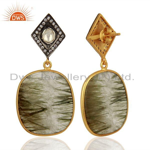 Exporter White Zircon Rutile Gemstone Silver Earrings Supplier Jewelry