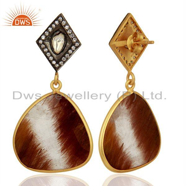 Exporter Wholesale Rutile Gemstone Gold Plated 925 Sterling Silver Cz Earrings