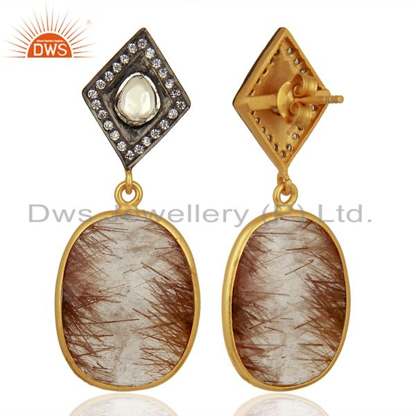 Exporter New Arrival Gold Plated Silver Rutile Gemstone CZ Earrings Jewelry