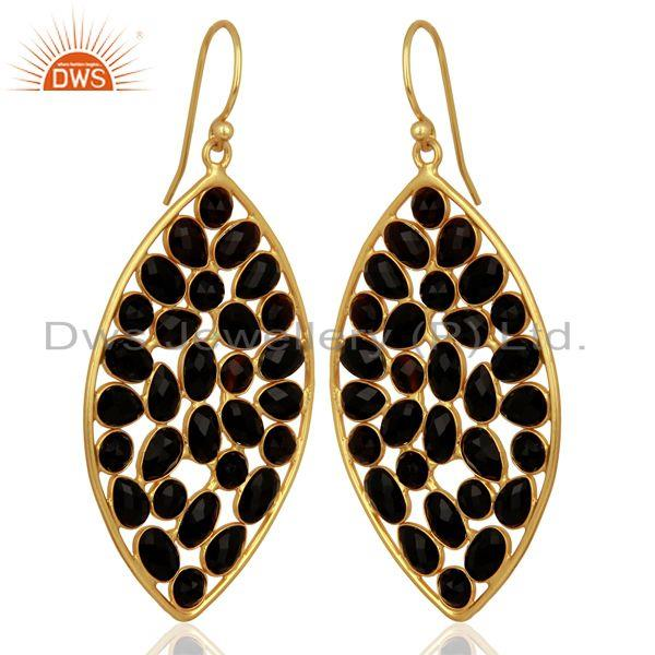 Exporter BlackOnyx Marquise Shape Handcrafted Gold Plated Sterling Silver Earring