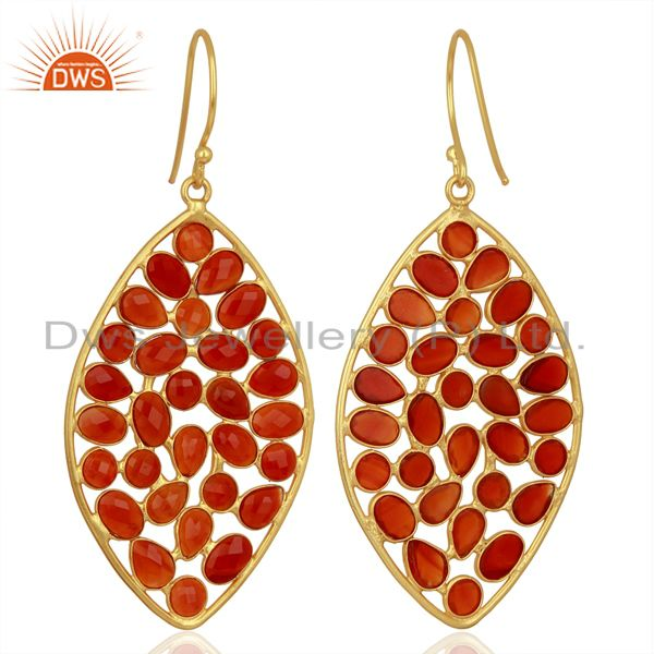 Exporter Red Onyx Marquise Shape Handcrafted Gold Plated Sterling Silver Fashion Earring