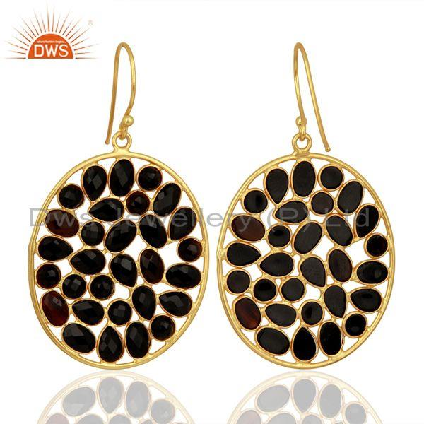 Exporter Black Onyx Handcrafted Dangle Gold Plated 92.5 Sterling Silver Designer Earring