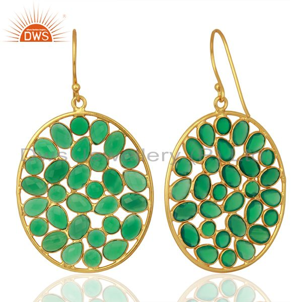 Exporter Green Onyx Handcrafted Dangle Gold Plated 92.5 Sterling Silver Designer Earring