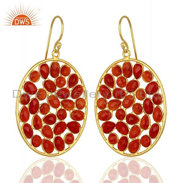 Exporter Red Onyx Handcrafted Dangle Gold Plated 92.5 Sterling Silver Designer Earring