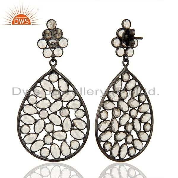 Exporter Black Rhodium Plated Silver CZ Gemstone Earrings Supplier Manufacturer