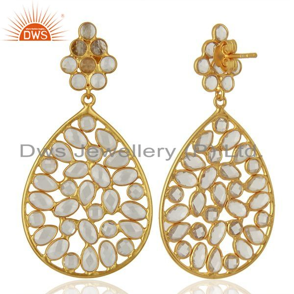 Exporter White Zircon Gemstone Gold Plated Silver Earring Supplier Manufacturer