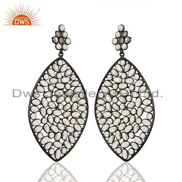 Exporter Rhodium Plated Silver CZ Gemstone Earrings Manufacturer Supplier