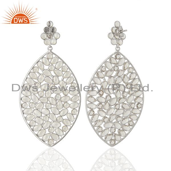 Exporter Wholesale 925 Sterling Silver CZ Gemstone Indian Earring Jewelry